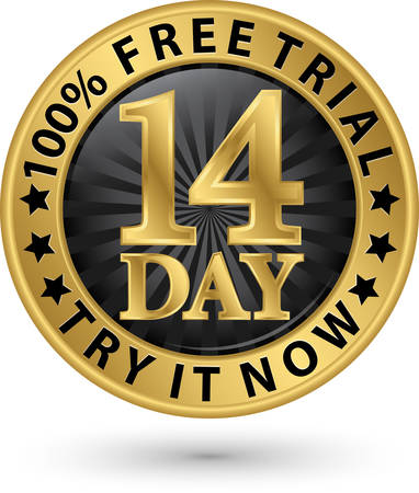 14 day free trial try it now golden label, vector illustration