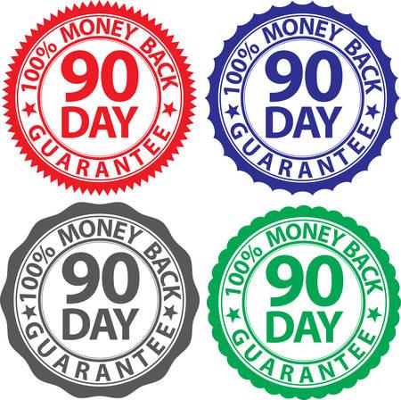 90 day 100% money back guarantee sign set, vector illustration Vettoriali