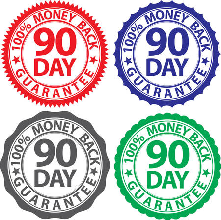 90 day 100% money back guarantee sign set, vector illustration Illustration