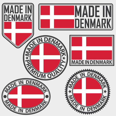 Made in Denmark label set with flag, made in Denmark, vector illustration Vectores