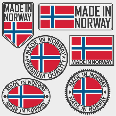 Made in Norway label set with flag, made in Norway, vector illustration