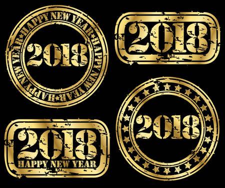 Happy new 2018 year set, grunge goldenr stamp, vector illustration Illustration