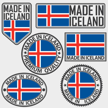 Made in Iceland label set with flag, made in Iceland, vector illustration Illustration