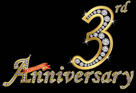Celebrating  3th anniversary golden sign with diamonds, vector illustration