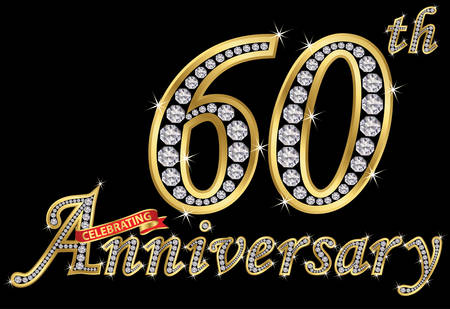 Celebrating 60th anniversary golden sign with diamonds, vector illustration