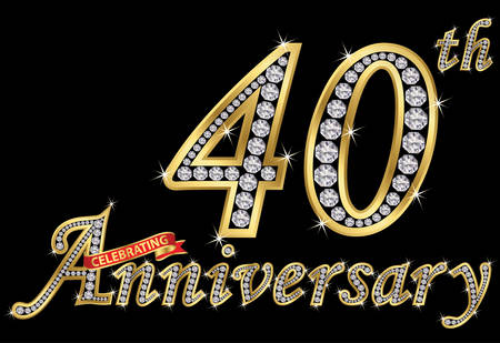 Celebrating  40th anniversary golden sign with diamonds, vector illustration Illustration