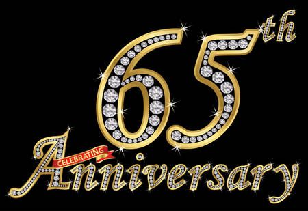 Celebrating 65th anniversary golden sign with diamonds, vector illustration.