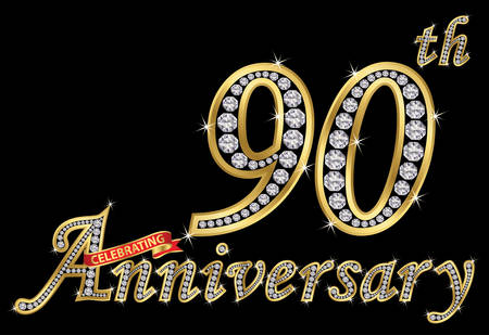 Celebrating 90th anniversary golden sign with diamonds, vector illustration.