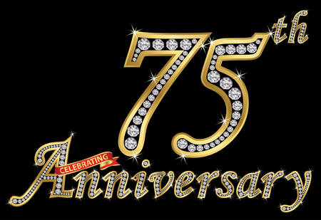 Celebrating 75th anniversary golden sign with diamonds, vector illustration.  イラスト・ベクター素材