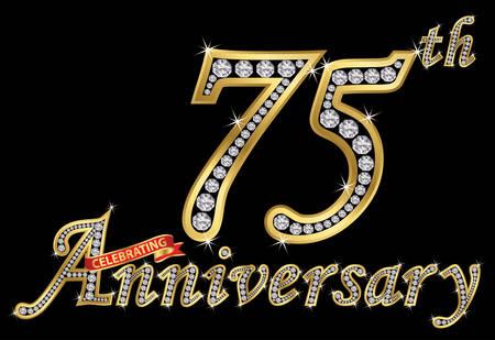 Celebrating 75th anniversary golden sign with diamonds, vector illustration. Illustration