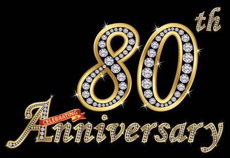 Celebrating 80th anniversary golden sign with diamonds, vector illustration. Ilustração