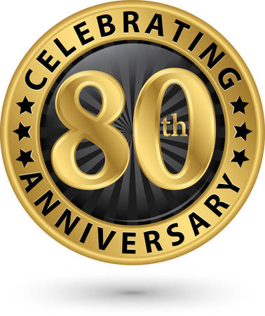 Celebrating 80th anniversary gold label, vector illustration  Çizim