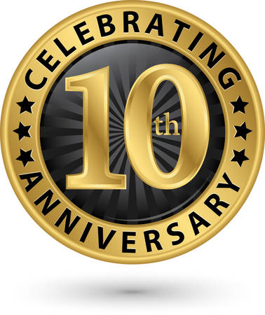 Celebrating 10th years anniversary gold label, vector illustration Stock fotó - 97724736