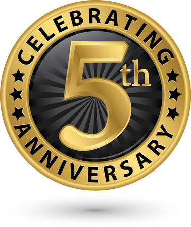 Celebrating 5th anniversary gold label, vector illustration
