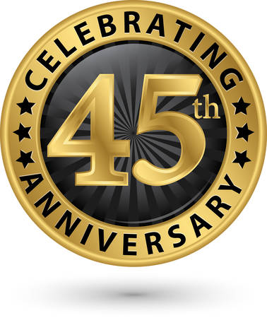 Celebrating 45th anniversary gold label, vector illustration  Illusztráció