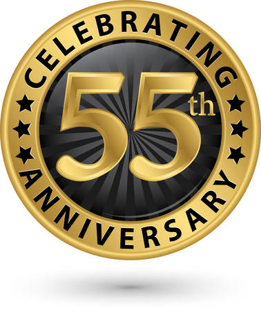 Celebrating 55th anniversary gold label, vector illustration
