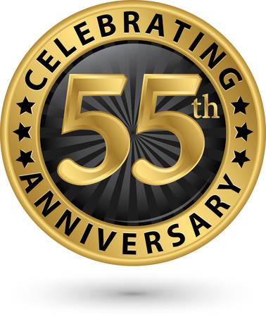 Celebrating 55th anniversary gold label, vector illustration Stock fotó - 97724743