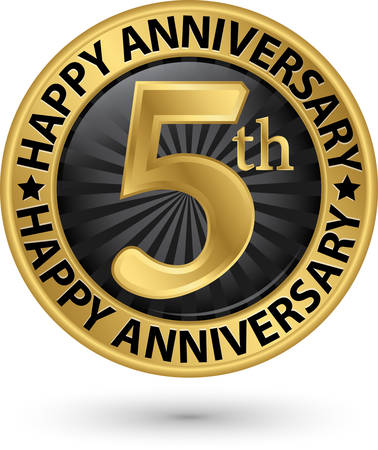 Happy 5th years anniversary gold label, vector illustration Illustration