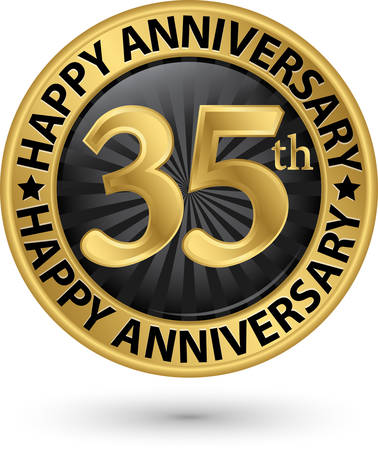 Happy 35th years anniversary gold label, vector illustration Illustration