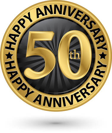 Happy 50th years anniversary gold label, vector illustration Illustration