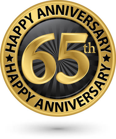 Happy 65th years anniversary gold label, vector illustration