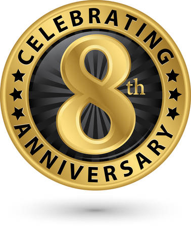 Celebrating 8th anniversary gold label, vector illustration