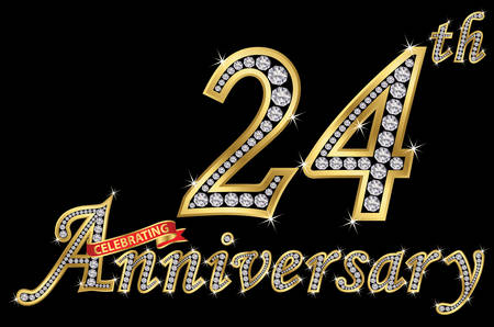 Celebrating  24th anniversary golden sign with diamonds, vector illustration