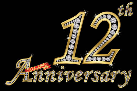 Celebrating  12th anniversary golden sign with diamonds, vector illustration Vectores
