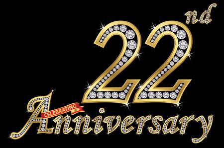 Celebrating  22th anniversary golden sign with diamonds, vector illustration Çizim
