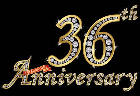 Celebrating  36th anniversary golden sign with diamonds, vector illustration Vettoriali