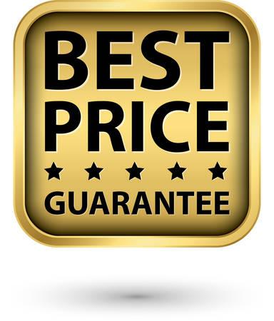 Best price guarantee golden label, vector illustration  Çizim