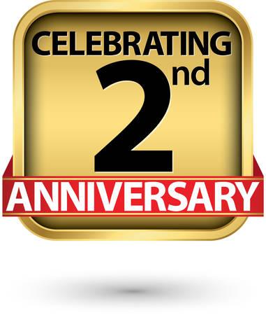 Celebrating 2nd years anniversary gold label, vector illustration Illustration