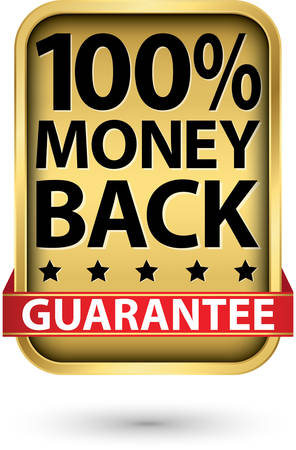 100%  money back guarantee golden sign, vector illustration