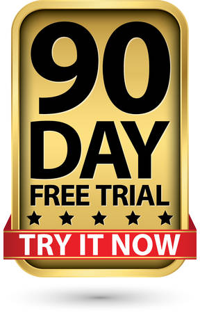 90 day free trial try it now golden label, vector illustration Vettoriali