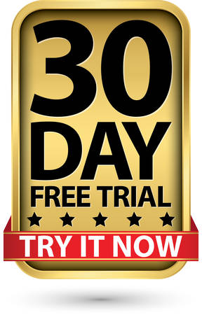 30 day free trial try it now golden label, vector illustration Ilustração