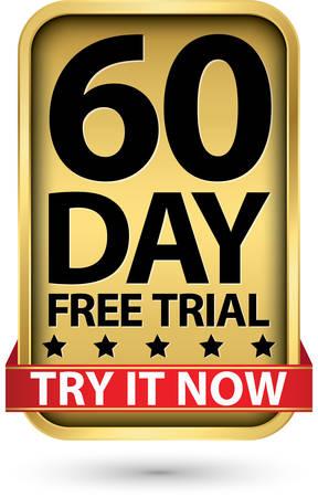 60 giorni di prova gratuita provalo ora etichetta dorata, illustrazione vettoriale