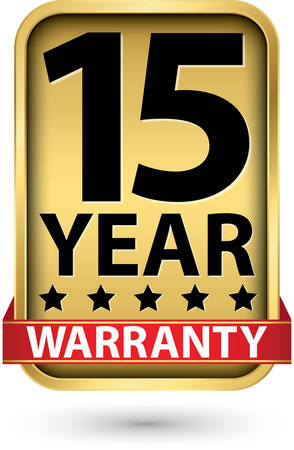 15 year warranty golden label, vector illustration Stock Illustratie
