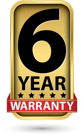 6 year warranty golden label, vector illustration 向量圖像