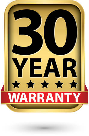 30 year warranty golden label, vector illustration Illustration