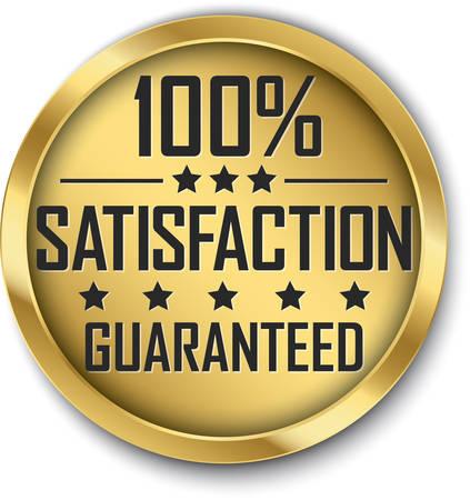 100% satisfaction guaranteed gold label, vector illustration