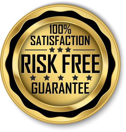 Risk free 100% satisfaction guarantee gold label, vector illustration
