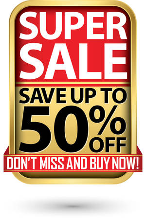 Super sale save up to 50% off golden label with red ribbon,vector illustration