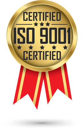 ISO 9001 certified gold label, vector illustration 向量圖像