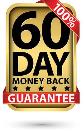 60 day 100% money back guarantee golden sign, vector illustration