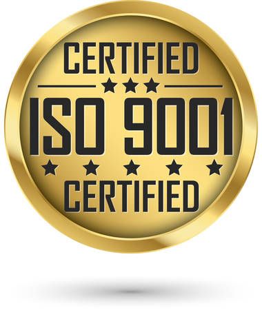 ISO 9001 certified gold label, vector illustration Illustration