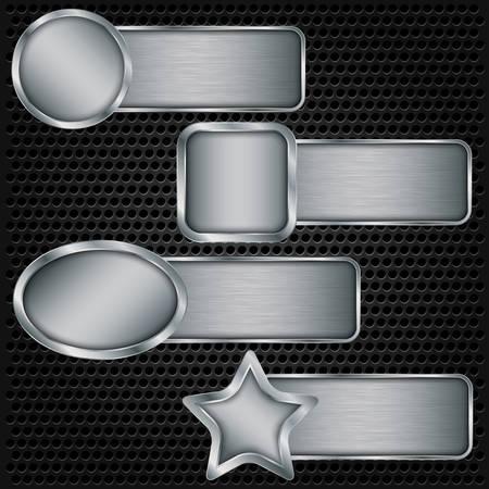 Metal banner set, metallic texture plate set vector illustration Illustration