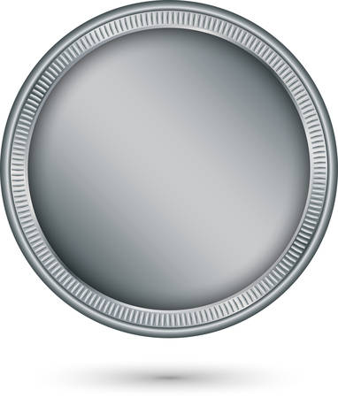 Silver coin, vector illustration