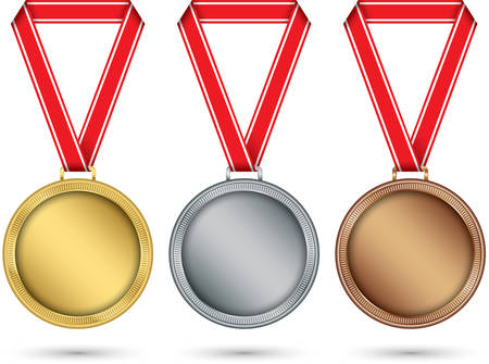Gold, silver and bronze medals, medal set with red ribbon, vector illustration 向量圖像