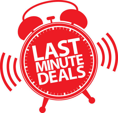 Last minute deals alarm clock icon, vector illustration