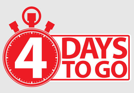 4 days to go red label, vector illustration